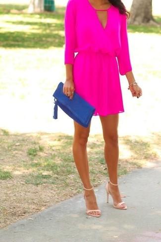 How to wear: gold bracelet, blue suede clutch, beige leather heeled sandals, hot pink skater dress