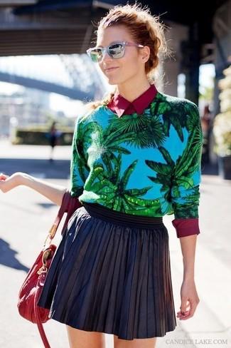 Blue crew neck sweater burgundy dress shirt black skater skirt large 882