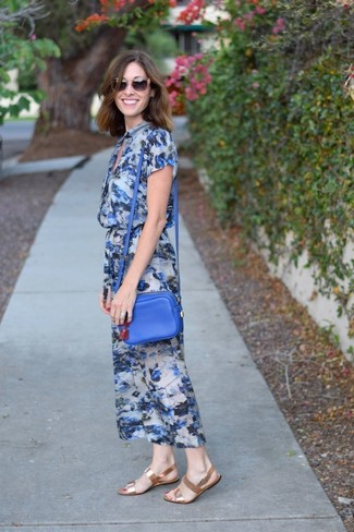 How to Wear a Blue Leather Crossbody Bag: Teaming a blue floral midi dress with a blue leather crossbody bag is an amazing idea for a casually stylish look. When it comes to footwear, introduce gold leather flat sandals to this outfit.