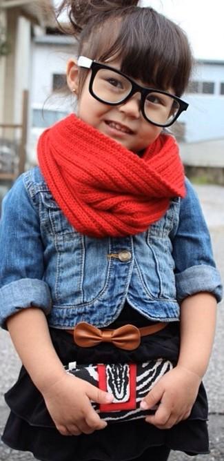 How to wear: blue denim jacket, black dress, red scarf