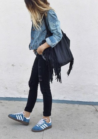 A blue jean jacket and black destroyed skinny jeans are both versatile essentials that will give your outfits a subtle modification. Blue suede low top sneakers are a smart choice to complete the look.