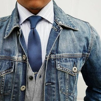 How to wear: blue denim jacket, grey cardigan, white check dress shirt, navy polka dot tie