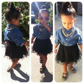 How to wear: blue denim long sleeve shirt, black tulle skirt, tan ballet flats