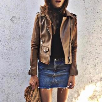 How to wear: blue denim mini skirt, black turtleneck, brown leather biker jacket