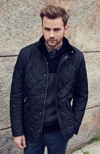 How to wear: black wool dress pants, blue denim shirt, black shawl-neck sweater, black quilted bomber jacket