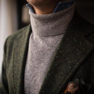 How to wear: dark green print pocket square, blue denim shirt, grey turtleneck, dark green wool blazer