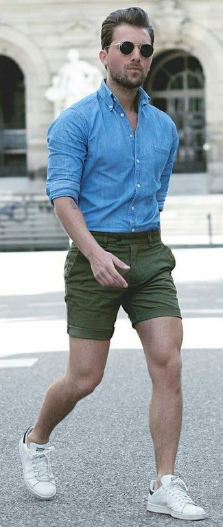 How to wear: blue denim shirt, olive shorts, white leather low top sneakers, black sunglasses
