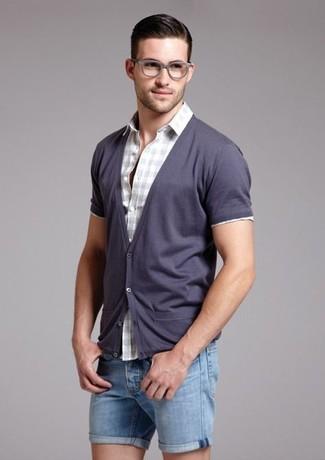 How to wear: blue denim shorts, grey gingham short sleeve shirt, violet cardigan