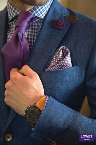 How to wear: blue double breasted blazer, white and blue gingham dress shirt, purple tie, white and violet polka dot pocket square