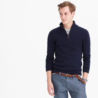 How to wear: brown woven leather belt, blue dress pants, grey crew-neck t-shirt, navy zip neck sweater