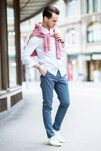 How to wear: white low top sneakers, blue check dress pants, white dress shirt, pink crew-neck sweater