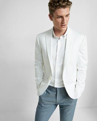 How to wear: blue dress pants, white dress shirt, white blazer