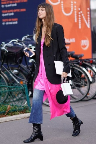 How to wear: black leather ankle boots, blue flare jeans, hot pink cami dress, black double breasted blazer
