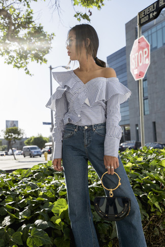 How to wear: blue flare jeans, white horizontal striped off shoulder top