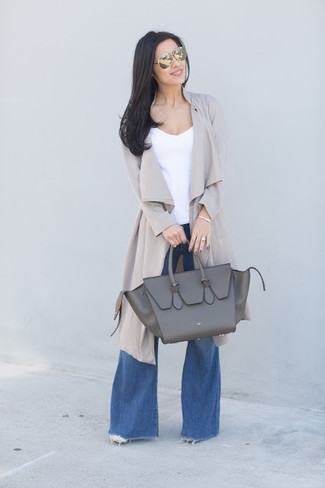 How to wear: charcoal leather tote bag, blue flare jeans, white tank, grey duster coat