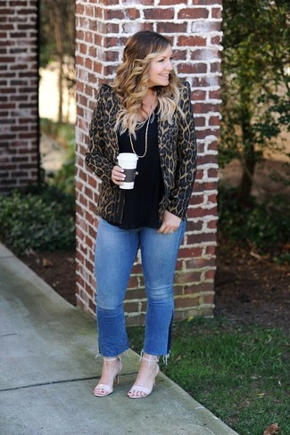 How to wear: beige leather heeled sandals, blue jeans, black crew-neck t-shirt, brown leopard blazer