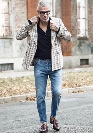 How to wear: dark brown leather tassel loafers, blue jeans, black polo neck sweater, grey plaid double breasted blazer