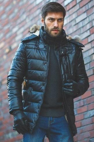 How to wear: black leather gloves, blue jeans, black turtleneck, black puffer jacket