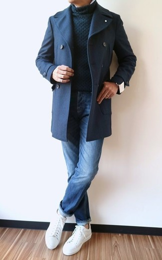 How to wear: white leather low top sneakers, blue jeans, black knit turtleneck, navy pea coat
