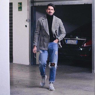 How to wear: white and black athletic shoes, blue ripped jeans, black turtleneck, white and black houndstooth double breasted blazer