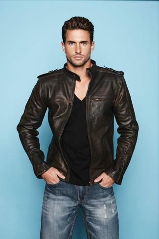 Men's Blue Jeans, Black V-neck T-shirt, Dark Brown Leather Bomber Jacket