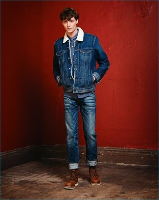 How to wear: brown leather work boots, blue jeans, blue denim shirt, blue denim shearling jacket