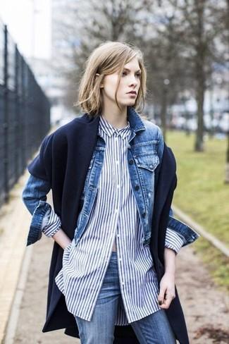 How to wear: navy scarf, blue jeans, blue vertical striped dress shirt, blue denim jacket