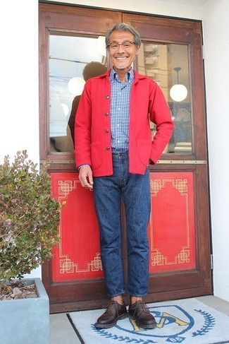 How to wear: dark brown leather derby shoes, blue jeans, blue check long sleeve shirt, red shirt jacket