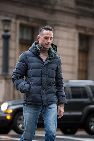How to wear: blue jeans, brown turtleneck, navy puffer jacket