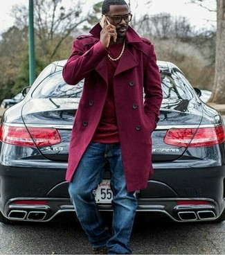 How to wear: dark brown leather casual boots, blue jeans, burgundy turtleneck, burgundy trenchcoat