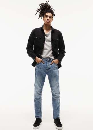How to wear: black leather high top sneakers, blue jeans, grey crew-neck t-shirt, black denim jacket
