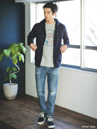 Tapered Rip And Repair Jeans