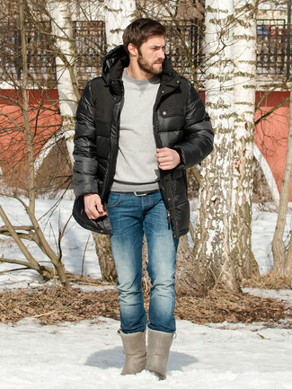 How to wear: grey uggs, blue jeans, grey sweatshirt, black puffer coat