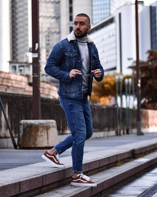 How to wear: tobacco suede low top sneakers, blue ripped jeans, grey wool turtleneck, blue denim shearling jacket