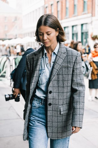 How to wear: blue jeans, light blue denim shirt, grey plaid blazer