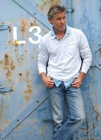 How to wear: blue jeans, light blue denim shirt, grey polo neck sweater