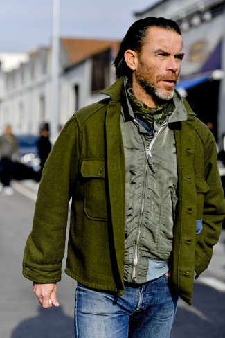 How to wear: olive camouflage scarf, blue jeans, olive gilet, olive wool shirt jacket