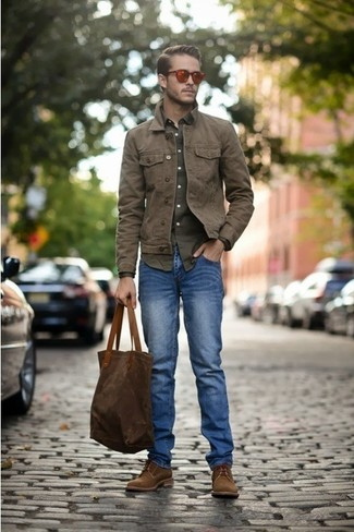 How To Wear a Brown Denim Jacket With Blue Jeans For Men (7