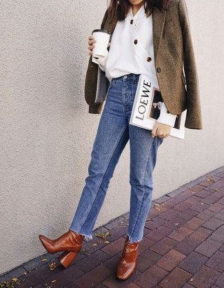 How to wear: tobacco leather ankle boots, blue jeans, white button down blouse, olive wool blazer