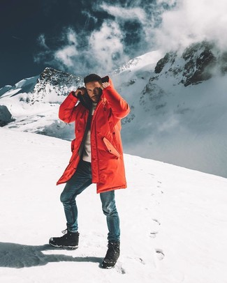 How to wear: black snow boots, blue jeans, white crew-neck sweater, red parka