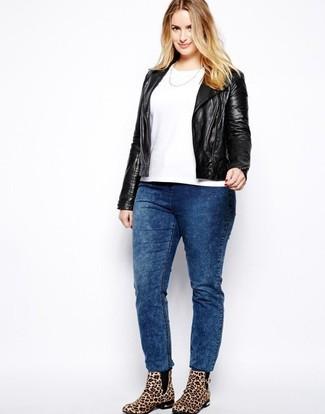 How to wear: tan leopard suede ankle boots, blue acid wash jeans, white crew-neck t-shirt, black leather biker jacket