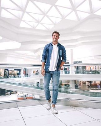 How to wear: white canvas low top sneakers, blue jeans, white crew-neck t-shirt, blue denim shirt