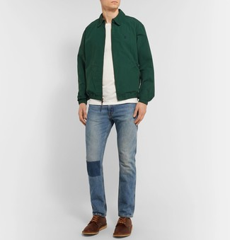 How to wear: brown leather derby shoes, blue jeans, white crew-neck t-shirt, dark green harrington jacket