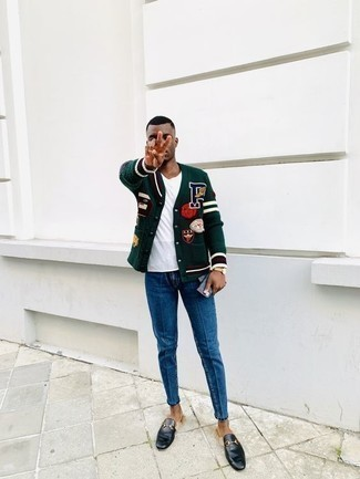 How to Wear Black Leather Loafers For Men: To pull together an off-duty ensemble with a contemporary spin, pair a dark green varsity jacket with blue jeans. If you want to instantly level up this ensemble with a pair of shoes, complete this ensemble with a pair of black leather loafers.