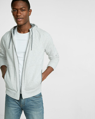 How to wear: blue jeans, white crew-neck t-shirt, grey hoodie