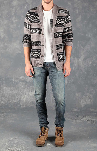 How to wear: brown suede casual boots, blue jeans, white crew-neck t-shirt, grey fair isle shawl cardigan