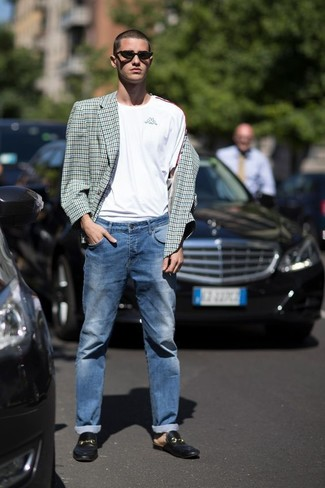 71f2d69d56477 How To Wear Blue Jeans With Black Leather Loafers For Men (20 looks ...