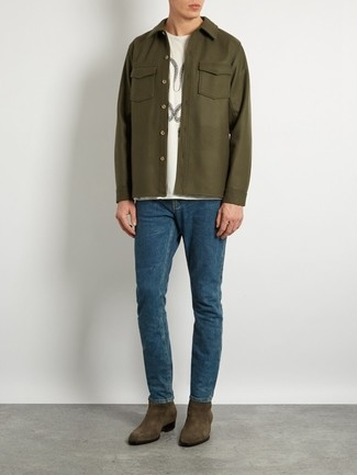 How to wear: olive suede chelsea boots, blue jeans, white print crew-neck t-shirt, olive shirt jacket