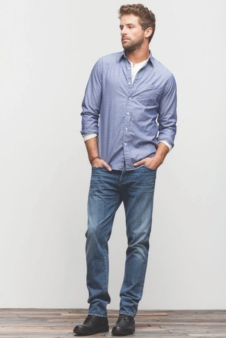 How to wear: black leather desert boots, blue jeans, white long sleeve henley shirt, blue long sleeve shirt