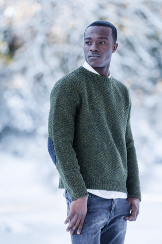 How to wear: blue jeans, white long sleeve shirt, dark green crew-neck sweater